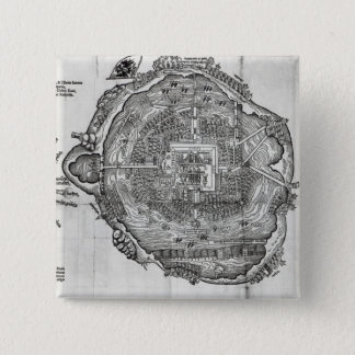 Map of Tenochtitlan 15 Cm Square Badge
