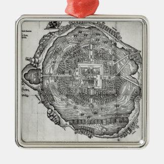 Map of Tenochtitlan Silver-Colored Square Decoration