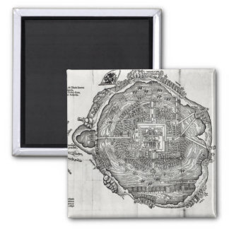 Map of Tenochtitlan Square Magnet