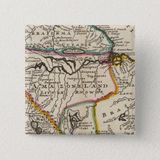 Map of Terra Firma, Peru, Amazone Land, Brasil 15 Cm Square Badge