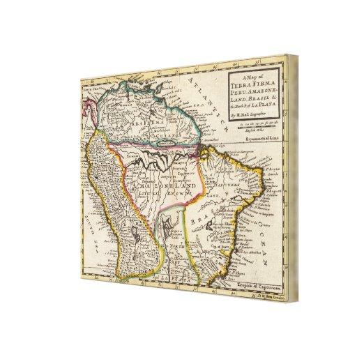 Map of Terra Firma, Peru, Amazone Land, Brasil Stretched Canvas Print