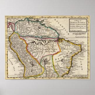 Map of Terra Firma, Peru, Amazone Land, Brasil Print
