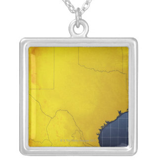 Map of Texas 3 Silver Plated Necklace