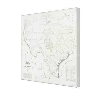 Map of Texas and part of New Mexico Canvas Print