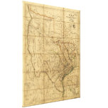 Map of Texas by John Arrowsmith (1841) Stretched Canvas Print