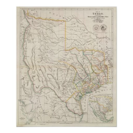 Map of Texas Poster
