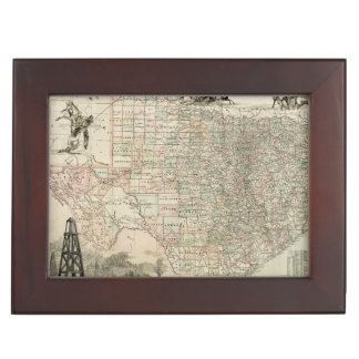 Map of Texas with County Borders Keepsake Box