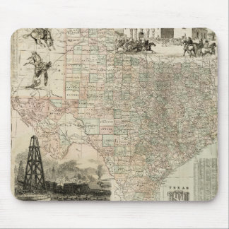 Map of Texas with County Borders Mouse Pad