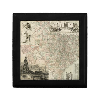 Map of Texas with County Borders Small Square Gift Box