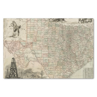 Map of Texas with County Borders Tissue Paper