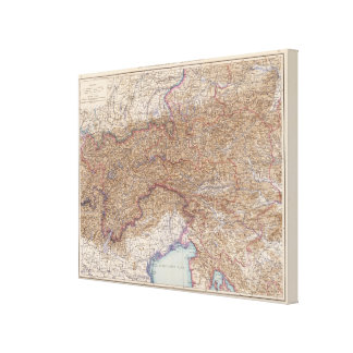 Map of The Alps in Austria Canvas Print