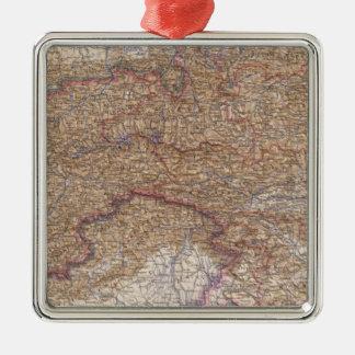 Map of The Alps in Austria Silver-Colored Square Decoration