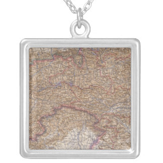 Map of The Alps in Austria Silver Plated Necklace