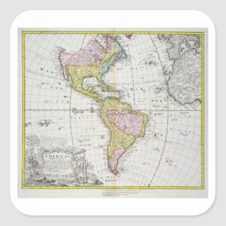 Map of the Americas, published by Homann, 1746 (co Square Sticker