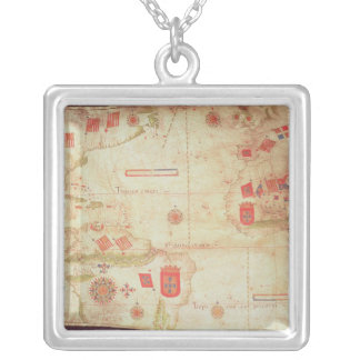 Map of the Atlantic Ocean, c.1550 Silver Plated Necklace