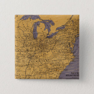 Map of the Atlantic States 15 Cm Square Badge