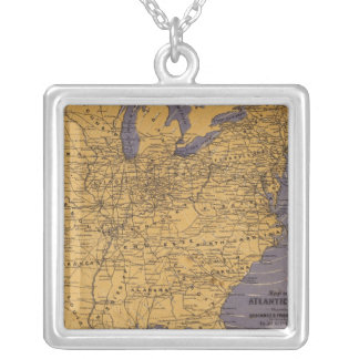 Map of the Atlantic States Silver Plated Necklace