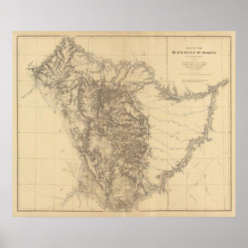 Map of the Black Hills of Dakota Poster