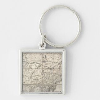 Map of the British and French Dominions Silver-Colored Square Key Ring