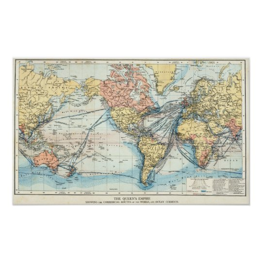 Map of the British Empire Poster