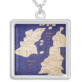 Map of the British Isles, from 'Geographia' Silver Plated Necklace