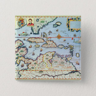 Map of the Caribbean islands 15 Cm Square Badge