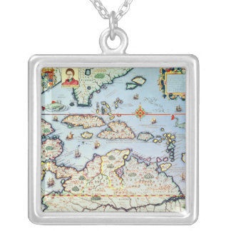Map of the Caribbean islands Silver Plated Necklace