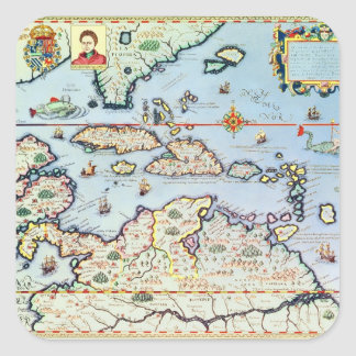 Map of the Caribbean islands Square Sticker