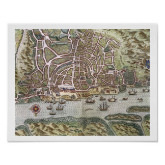 Map of the City and Portuguese Port of Goa, India, Poster