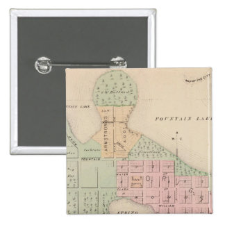 Map of the City of Albert Lea, Minnesota 15 Cm Square Badge