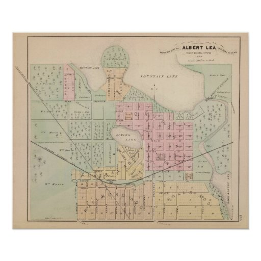 Map of the City of Albert Lea, Minnesota Poster