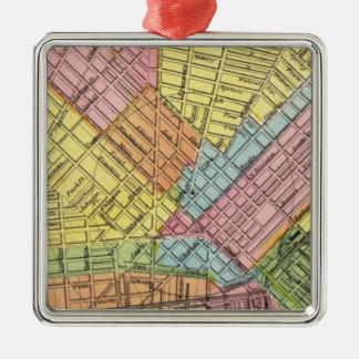 Map of The City of Buffalo Silver-Colored Square Decoration