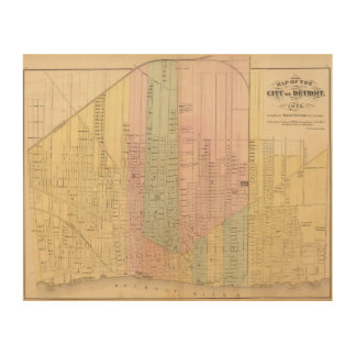Map of the City of Detroit Wood Wall Decor