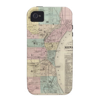 Map of the City of Milwaukee, Milwaukee Co Case-Mate iPhone 4 Covers