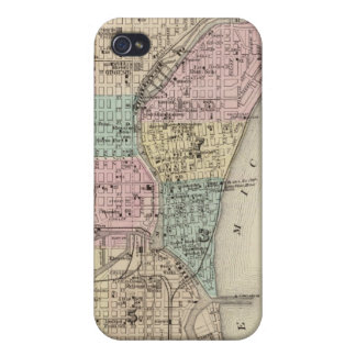 Map of the City of Milwaukee, Milwaukee Co iPhone 4 Cases