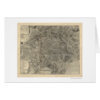 Map of the City of Paris by Nicolas de Fer 1700 Card