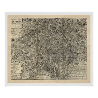 Map of the City of Paris by Nicolas de Fer 1700 Poster