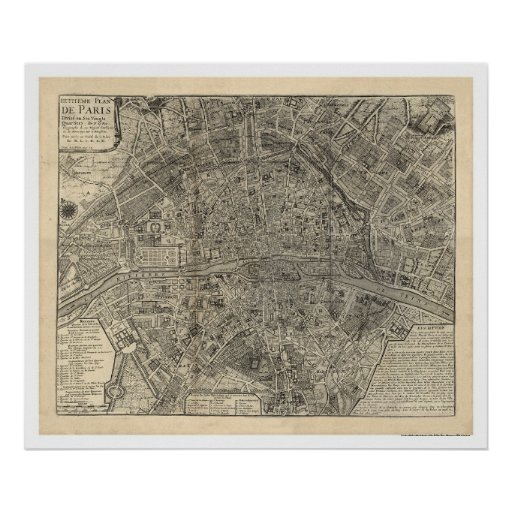 Map of the City of Paris by Nicolas de Fer 1700 Poster