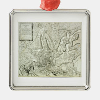 Map of the city of Rome, engraved by the artist, 1 Silver-Colored Square Decoration