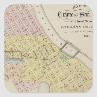 Map of the City of St. Cloud, Minnesota Square Sticker