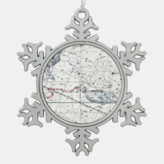 Map of The Constellations Plate XXII Snowflake Pewter Christmas Ornament