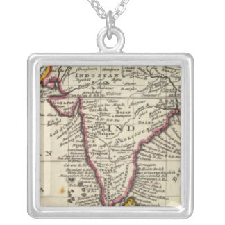 Map of the continent of the East Indies Silver Plated Necklace