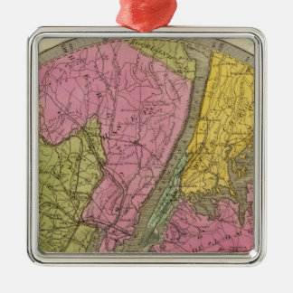 Map of the Country Silver-Colored Square Decoration