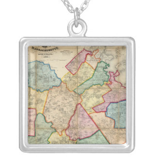 Map of the County of Norfolk, Massachusetts Silver Plated Necklace