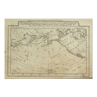Map of the Discoveries made by Capts Cook & Clerk Poster