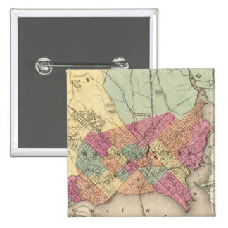 Map of the District of Columbia, Washington 15 Cm Square Badge