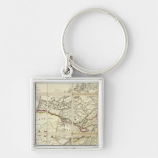 Map of the District of Montreal, Lower Canada Silver-Colored Square Key Ring
