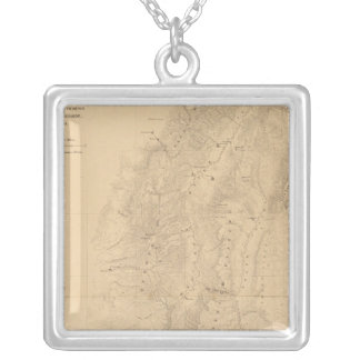 Map of the district of the High Plateaus of Utah Silver Plated Necklace
