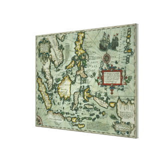 Map of the East Indies, pub. 1635 in Amsterdam (ha Canvas Print