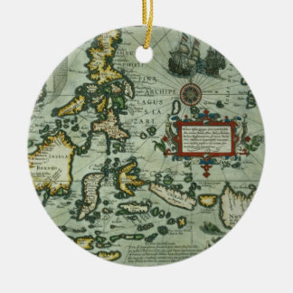 Map of the East Indies, pub. 1635 in Amsterdam (ha Christmas Ornament